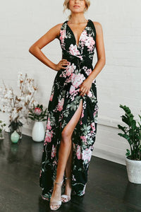 Fashion V Collar Backless Chiffon Floral Printed  Floral Jumpsuit Rompers
