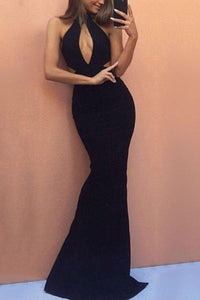 Sexy Black Sleeveless Fishtail Evening Maxi Dress