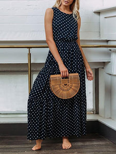 Fashion Wave Round Neck Sexy Button Maxi Dress