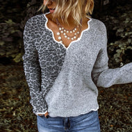 Casual Heart-collar Stitching Color Knit Leopard Print Sweater