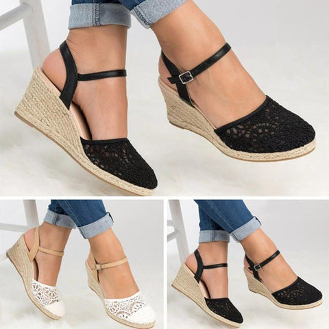 9af389879dae Lace High Heeled Lace Ankle Strap Round Toe Date Wedge Sandals