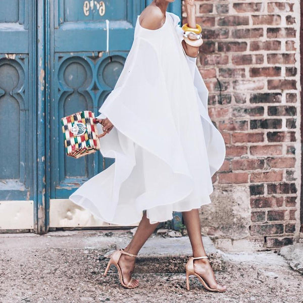 Chiffon Off-The-Shoulder Chic White Dress