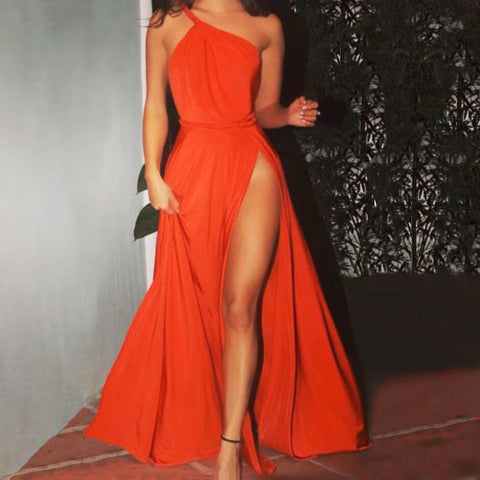 Sexy One Shoulder Sleeveless Party Evening Dress