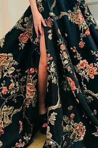 Sexy One Shoulder Evening Dress Floral Printed Maxi Dress