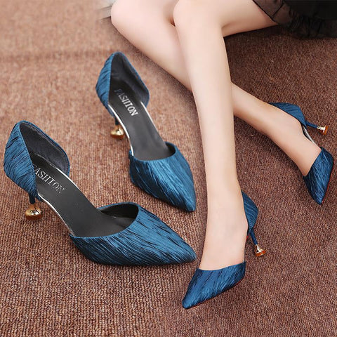 Pointed Pure Color Slim Heel Sandals