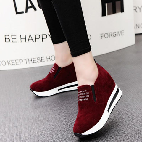 Flat Bottom Increased Versatile Round Toe Casual Fashion Sneakers