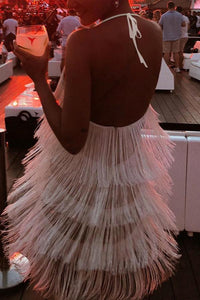 Sexy White Tassel Backless Sleeveless Mini Dress