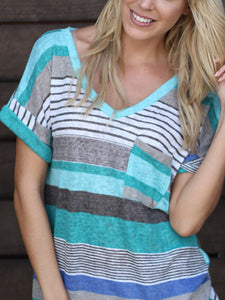 Patch Pocket Striped Short Sleeve T-Shirt