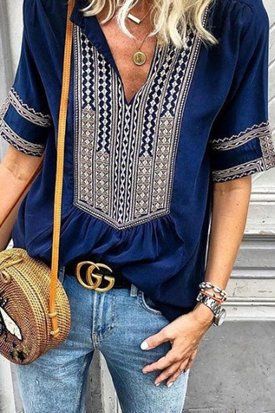 V Neck Patchwork Printed T-Shirts