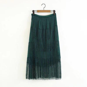 Sexy Plain High Waist Fringe Long Skirt