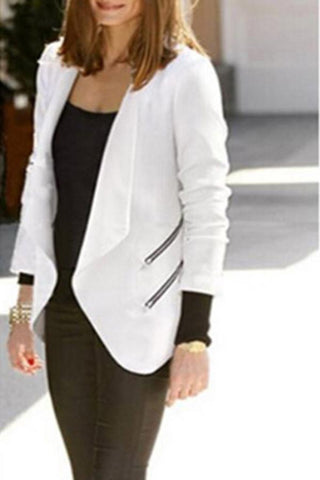 Notch Lapel  Asymmetric Hem  Plain Blazers