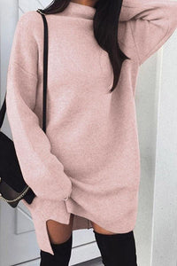 High Neck Batwing Sleeve Casual Sweater Dresses