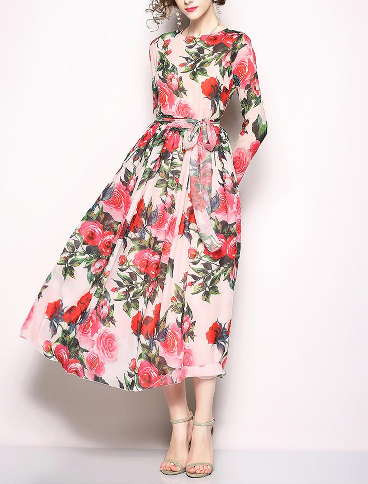 A Printed Chiffon Long-Sleeved Swagger Dress