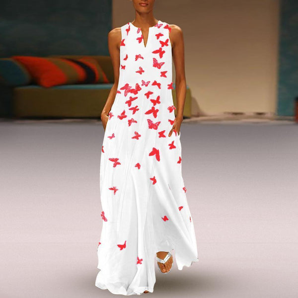 Chinese Butterfly Printed Maxi Shift Casual Dress