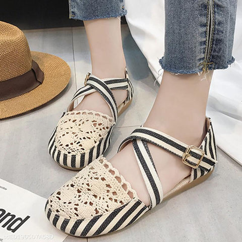 Flat Shoes Cross Buckle Strap Women's Shoes Flats Loafers