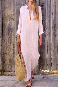 A Loose V-Collar Long-Sleeved Maxi Casual Dress