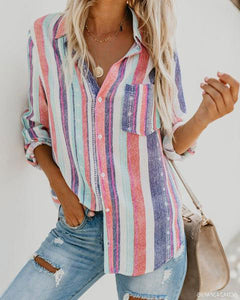 A Stylish Long-Sleeved Shirt Chic Women Blouse