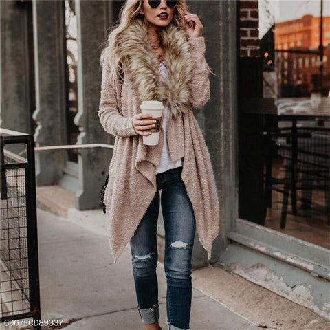 Faux Fur Collar Plush Jacket Windbreaker Long-Sleeved Cardigan