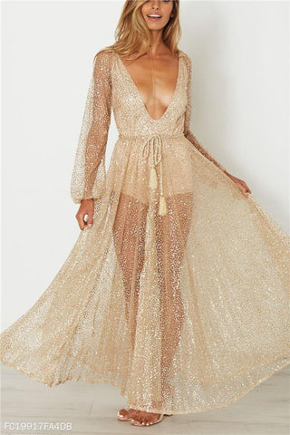 Sexy V Collar Sequins Long-Sleeved Dress Skirt