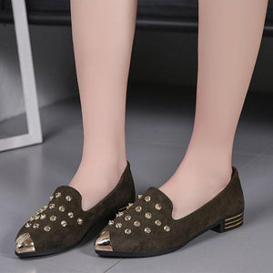 Pointed Rivet Flat Low Heel Women's Shoes