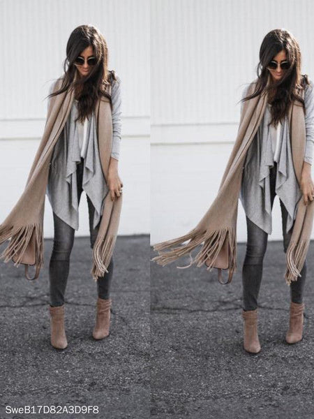 Irregular Long Sleeve Lapel Cardigan