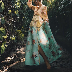 Elegant Vacation Fashion Loose Floral V Collar Long Sleeve Fork Maxi Dress