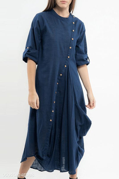 Vintage Round Collar Plain Button Irregular Maxi Dress