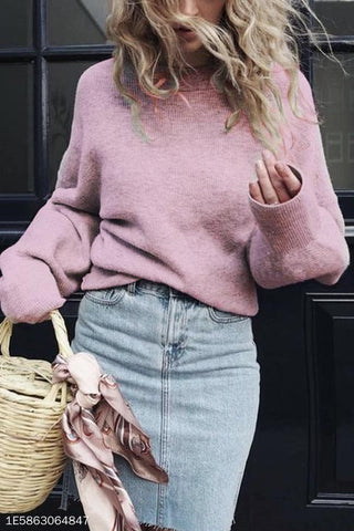 Crew Neck  Plain  Puff Sleeve Sweaters