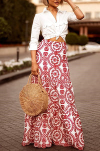 Vacation Fashion Casual Slim Floral High Waist Long Skirt