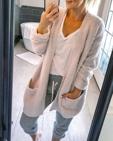 Leisure Pure Color Arctic Velvet Long Sleeves Medium Long Cardigan
