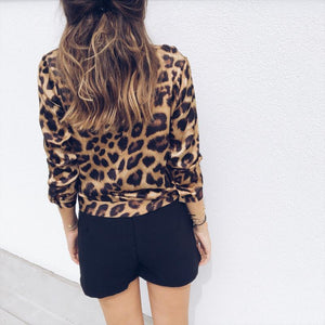 Leisure Sexy Leopard Pattern V Collar Long Sleeve Top