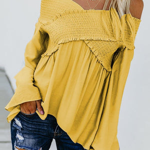 Elastic Off Shoulder Long Flare Sleeve Plain Pleated Loose Blouse