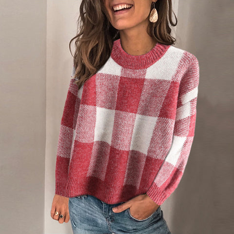 Casual Round Neck Plaid Pullover Sweater