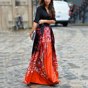 Fashion Floral Printed Long-Sleeved Maxi Dress