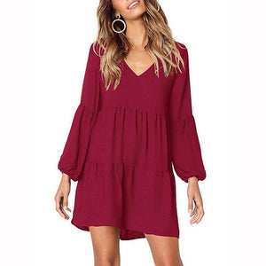 Fashion V Neck Puff Sleeve Solid Color Casual Mini Dress