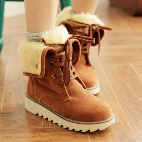 Plain  Flat  Velvet  Criss Cross  Round Toe  Casual Outdoor  Short Flat Boots