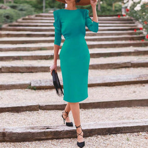 Elegant Bow Long Sleeve Streching Bodycon Evening Dress