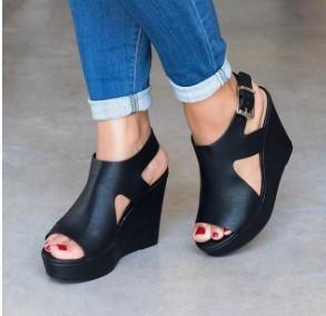 Large Size Plain Peep Toe Boots Wedge Heel Sandals