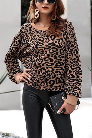 Fashion Round Collar Leopard Print Knitted Top