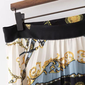 Fashion Print Long Pleated Skirt