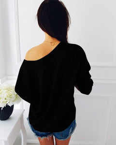 Fashion Sequins Splice Bat Sleeves Sweater