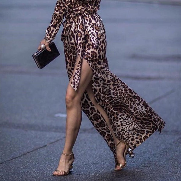 Sexy Leopard Print Side Vented Long Sleeve Maxi Dresses