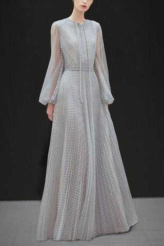 Sexy Lace Long Sleeve Solid Color Evening Maxi Dress