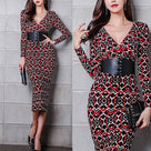 Temperament V-Neck Slim Print Bodycon