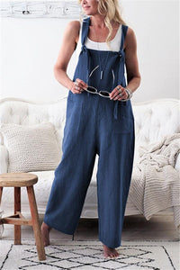 Fashion Casual Pure Color Long Belt Trousers Jumpsuits