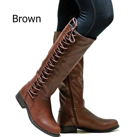 Women Round Toe Side Zipper Lace-Up Knee High Boots