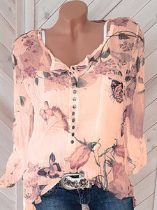 Floral Printed  Long Sleeve Blouses
