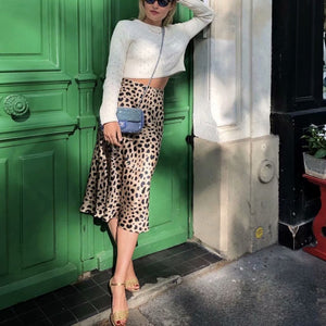Elegant Chic Slim Leopard Print High Waist Long Skirt