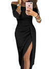 Backless Cutout Asymmetric Hem Off Shoulder Bodycon Dresses
