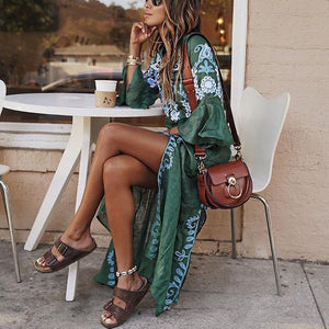 Sexy V Collar Floral Printed Slit Maxi Casual Dress